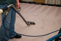 Photograph of an office contract cleaner cleaning a carpet