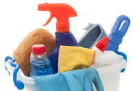 Photograph of cleaning materials in a bucket ready to cover any cleaners sick leave
